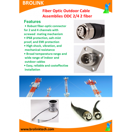 Fiber Optic Outdoor Cable Assemblies ODC 2/4 2 fiber