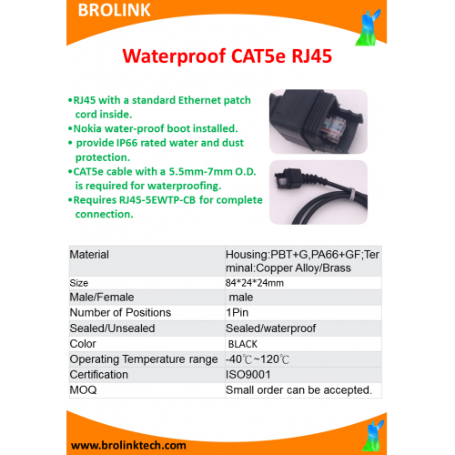 Waterproof CAT5e RJ45